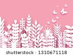 Stock vector  march origami spring flowers happy womens day mixed white paper cut flowers tropical leaves 1310671118