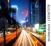 traffic in hong kong at night   Shutterstock . vector #131067278