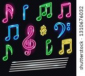 set of neon music notes icons.... | Shutterstock .eps vector #1310676032