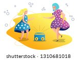 mother and daughter dancing to... | Shutterstock .eps vector #1310681018