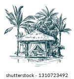 Gazebo With Thatched Roofs...