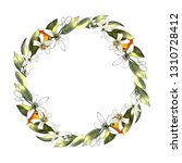mandarin wreath with leaves and ... | Shutterstock . vector #1310728412