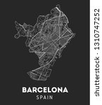 vector city map of barcelona... | Shutterstock .eps vector #1310747252
