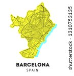 city map of barcelona with well ... | Shutterstock . vector #1310753135
