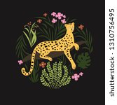 jungle leopard vector... | Shutterstock .eps vector #1310756495