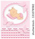 Sleeping Baby Girl In Pink Frame