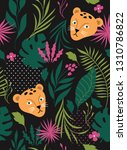 seamless pattern witn leopards... | Shutterstock .eps vector #1310786822