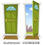 cartoon green door  open and... | Shutterstock .eps vector #1310806208