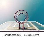 Basketball Backboard Below The...