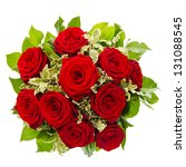 Stock photo bouquet of red rose flower isolated on white background 131088545