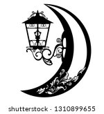 streetlight lamp and crescent... | Shutterstock .eps vector #1310899655