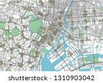 colorful tokyo vector city map | Shutterstock .eps vector #1310903042