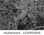 black and white vector city map ... | Shutterstock .eps vector #1310903045