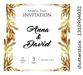 invitation leaf gold elegant | Shutterstock .eps vector #1310904032