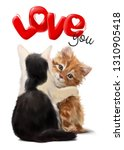 Stock photo black and white kitten hugging a ginger kitten 1310905418