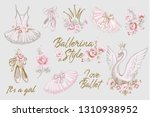 cute ballet vector watercolor... | Shutterstock .eps vector #1310938952