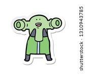 sticker of a friendly cartoon... | Shutterstock .eps vector #1310943785