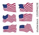 usa flag set on white... | Shutterstock . vector #1310946158