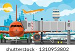plane before takeoff. airport... | Shutterstock .eps vector #1310953802