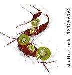 fresh kiwi in chocolate and... | Shutterstock . vector #131096162