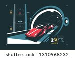 two levels cars tunnel with map ... | Shutterstock .eps vector #1310968232