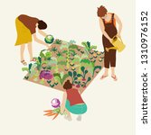 gardening. women work in... | Shutterstock .eps vector #1310976152