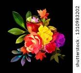 peony bud flowers on black....   Shutterstock .eps vector #1310983202