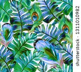 tropical pattern with feathers  ... | Shutterstock . vector #1311010982