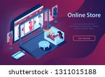 woman buys clothes online.... | Shutterstock .eps vector #1311015188