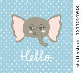cute happy elephant cartoon on...   Shutterstock .eps vector #1311054908
