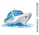 realistic cruise liner mockup.... | Shutterstock .eps vector #1311061688