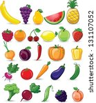 cartoon vegetables and fruits | Shutterstock .eps vector #131107052