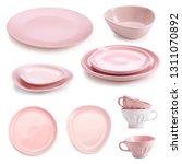 different ceramic tableware on... | Shutterstock . vector #1311070892