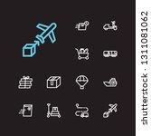 logistics icons set. train...