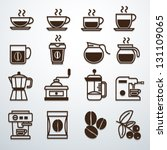 coffee icons set vector | Shutterstock .eps vector #131109065
