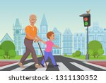 helping senior old man. little... | Shutterstock .eps vector #1311130352