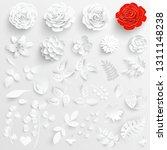 paper flower. white roses cut... | Shutterstock .eps vector #1311148238