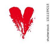 grunge red heart shape.... | Shutterstock .eps vector #1311159215