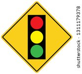 traffic light on white...
