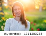 beautiful young woman  standing ... | Shutterstock . vector #1311203285
