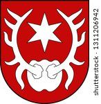 Coat of arms of Sarnen is a small historic town, a municipality, and the capital of the canton of Obwalden situated on the northern shores of Lake Sarnen in Switzerland. Vector illustration