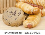 assortment of baked bread on... | Shutterstock . vector #131124428