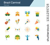 brazil carnival icons. flat...