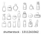 perfume set collection fashion...   Shutterstock .eps vector #1311261062