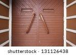 red wooden door  detail of a... | Shutterstock . vector #131126438