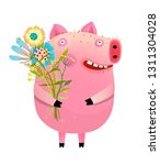 pig with bouquet of flowers.... | Shutterstock .eps vector #1311304028