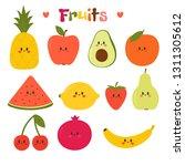 cute hand drawn kawaii fruits.... | Shutterstock .eps vector #1311305612