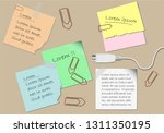 sticky notes  paper clip and... | Shutterstock .eps vector #1311350195