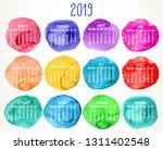 year 2019 monthly calendar.... | Shutterstock . vector #1311402548