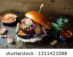 vegan burger with white bean... | Shutterstock . vector #1311421088